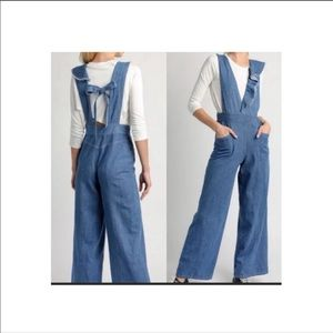 Anthropologie wide leg ruffle denim jumpsuit L